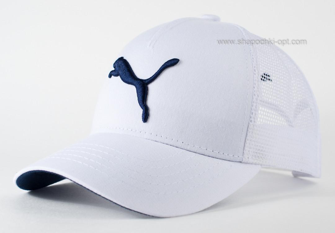 Бейсболка летняя с сеткой белая Puma с синим подкозырьком