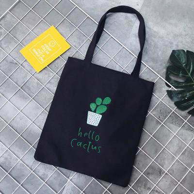 Эко-сумка черная с кактусом