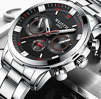 Кварцевые наручные мужские часы с серебристым браслетом код 537