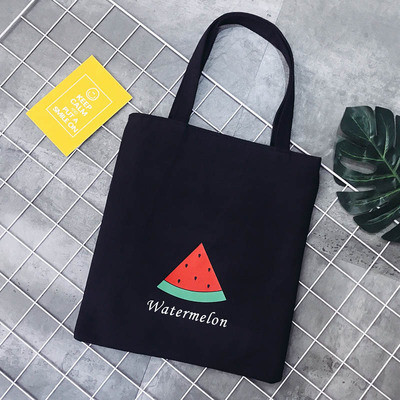 Эко-сумка черная с арбузом