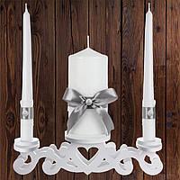 """Набор садебных свечей """"Семейный очаг"""", серебристый цвет (арт. CAND-26)"""
