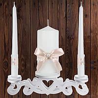 """Набор садебных свечей """"Семейный очаг"""", персиковый цвет (арт. CAND-28)"""