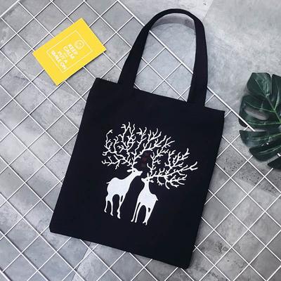 Эко-сумка черная с оленями