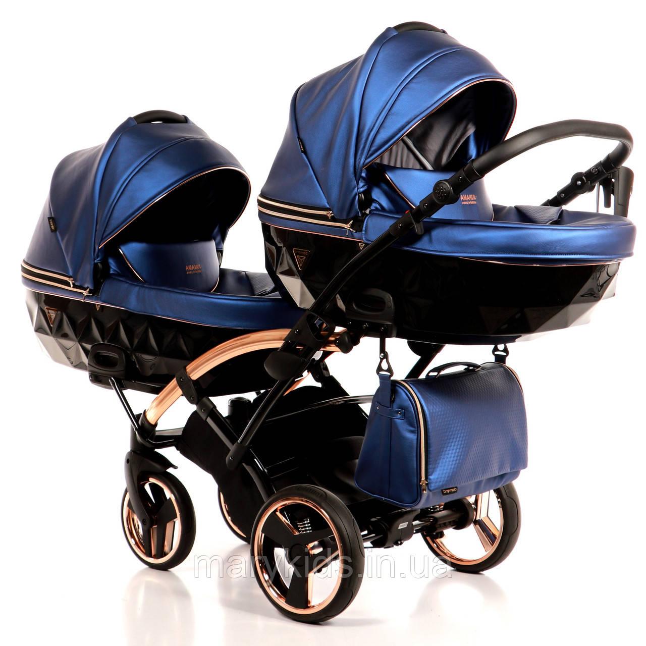 Детская универсальная коляска для двойни Junama Diamond Fluo Line Duo Slim
