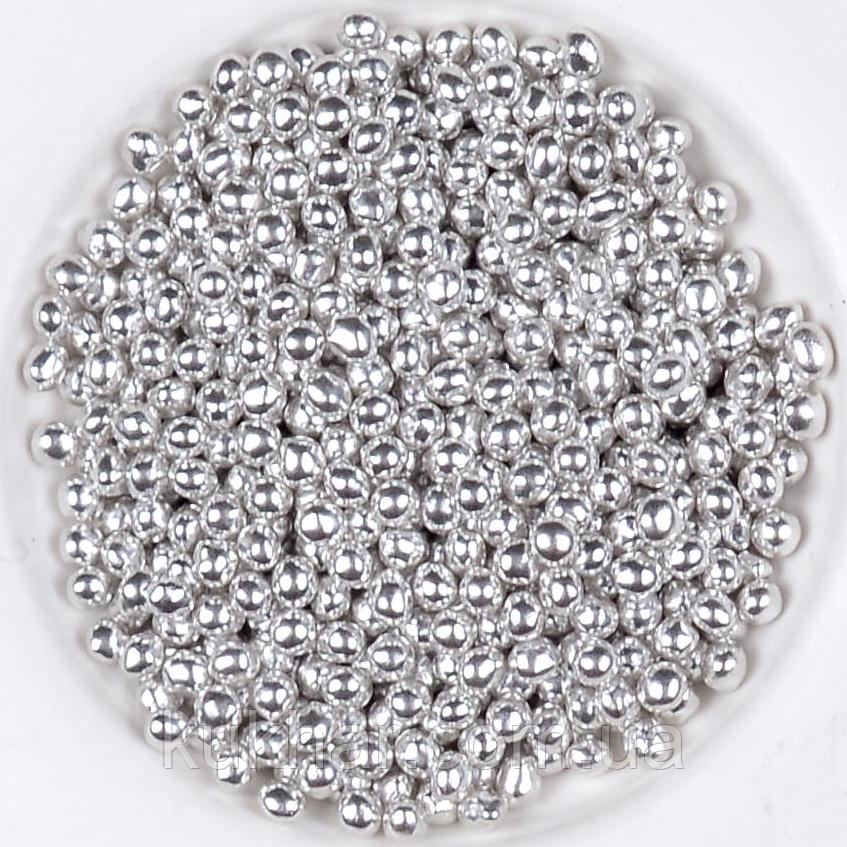 """Кульки декоративні """"Срібні"""" ø2 3г"""