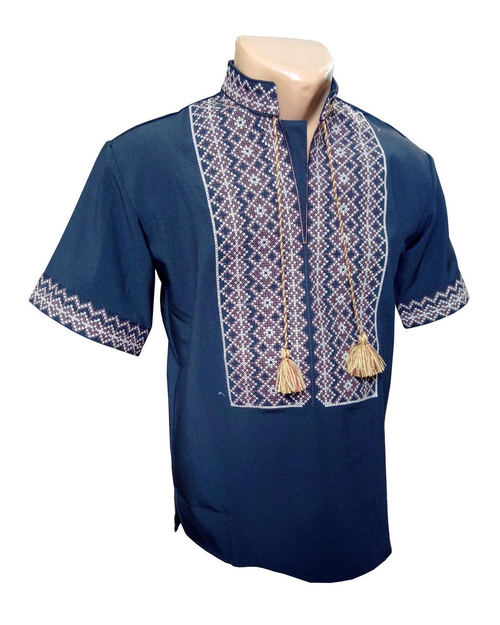 Мужская Рубашка Вышиванка с коротким рукавом Черная р. 42 - 56