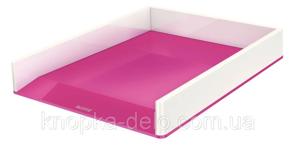 Лоток горизонтальный Leitz WOW Duo Colour, розовый металлик, арт.5361-10-23
