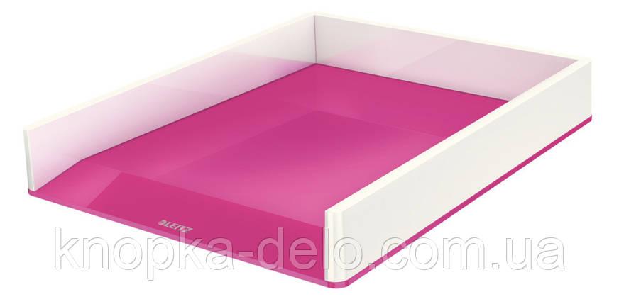 Лоток горизонтальный Leitz WOW Duo Colour, розовый металлик, арт.5361-10-23, фото 2