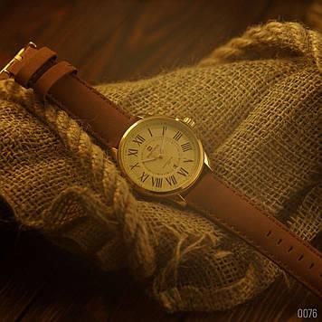 Мужские кварцевые наручные часы Naviforce NF9126 Gold-Brown