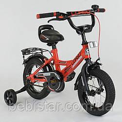 """Двухколесный детский велосипед красный Corso 12"""" звоночек багажник с зажимом деткам 3-4 года"""