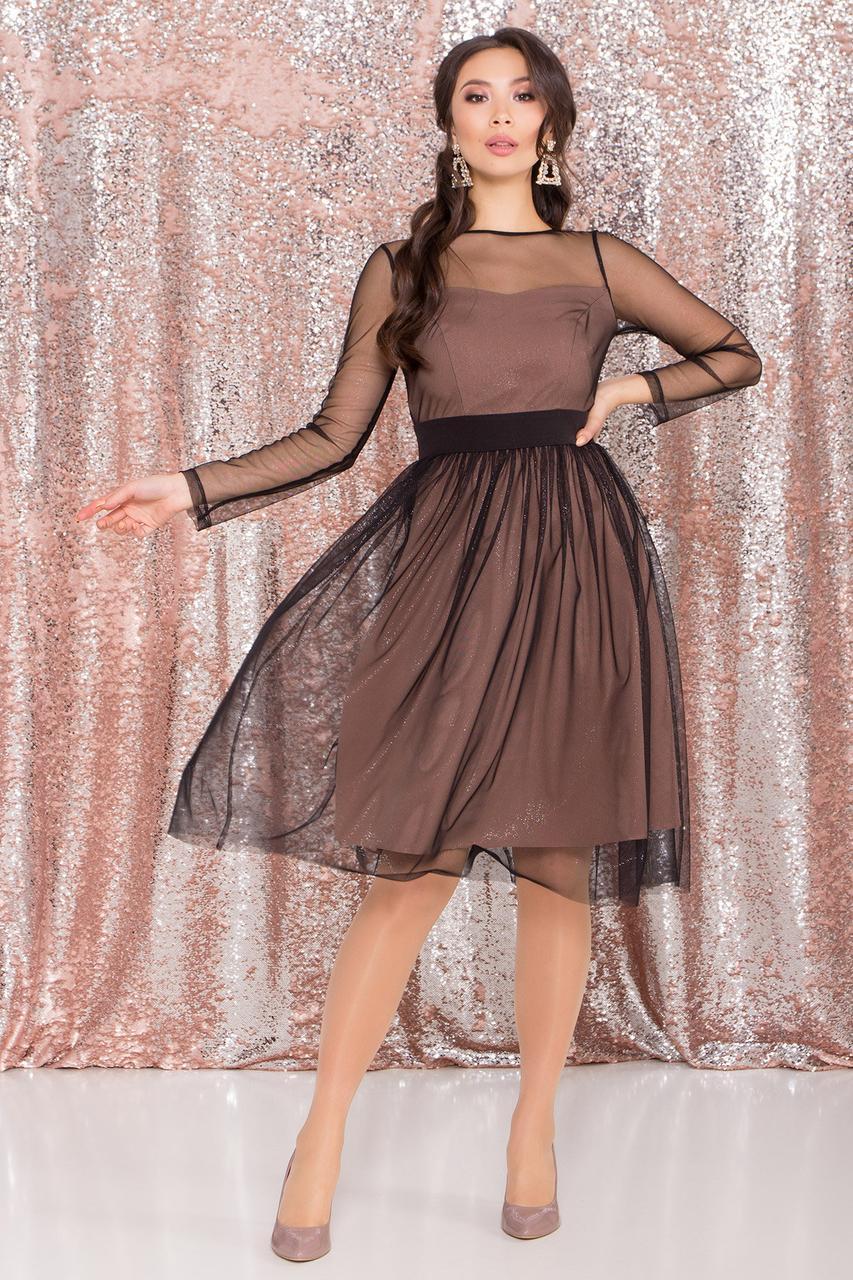 Платье миди длины с юбкой солнце-клеш Роял