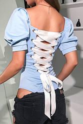 Женское боди Beatrice blue со шнуровкой на спине