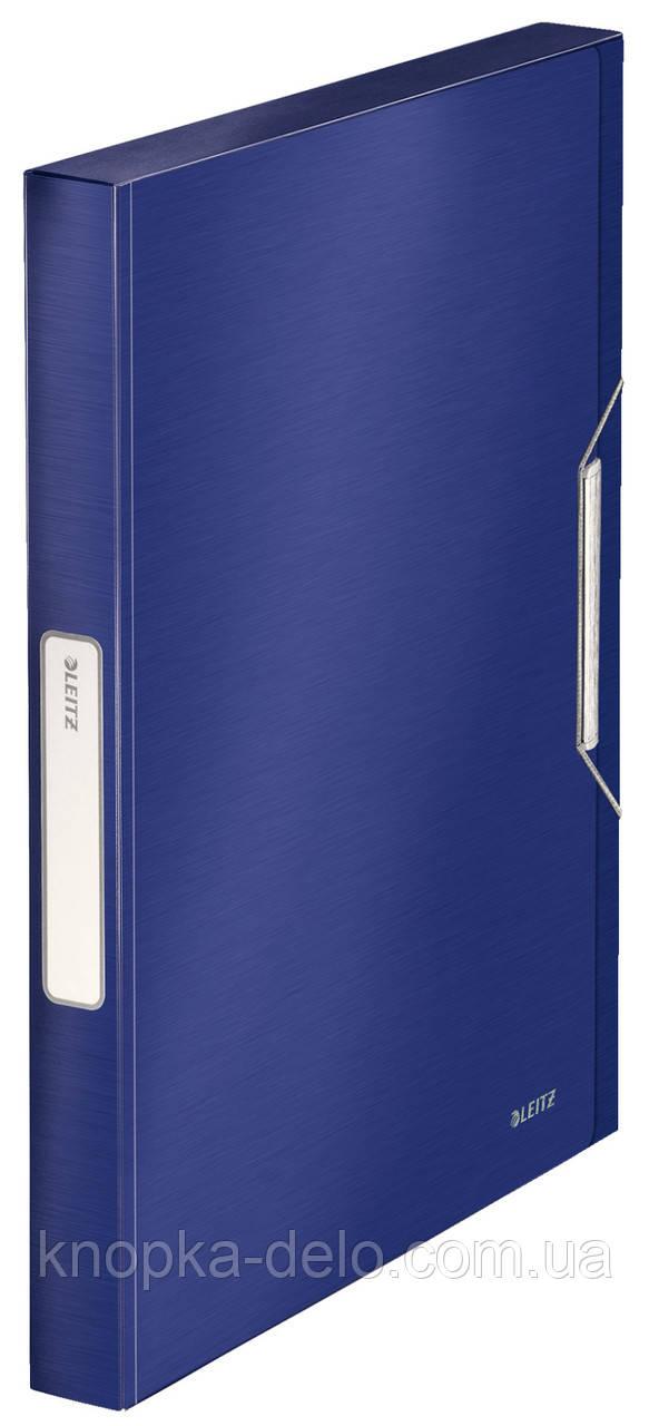 Папка-бокс на резинке Leitz Style, PP, 30мм, титановый синий, арт. 39560069