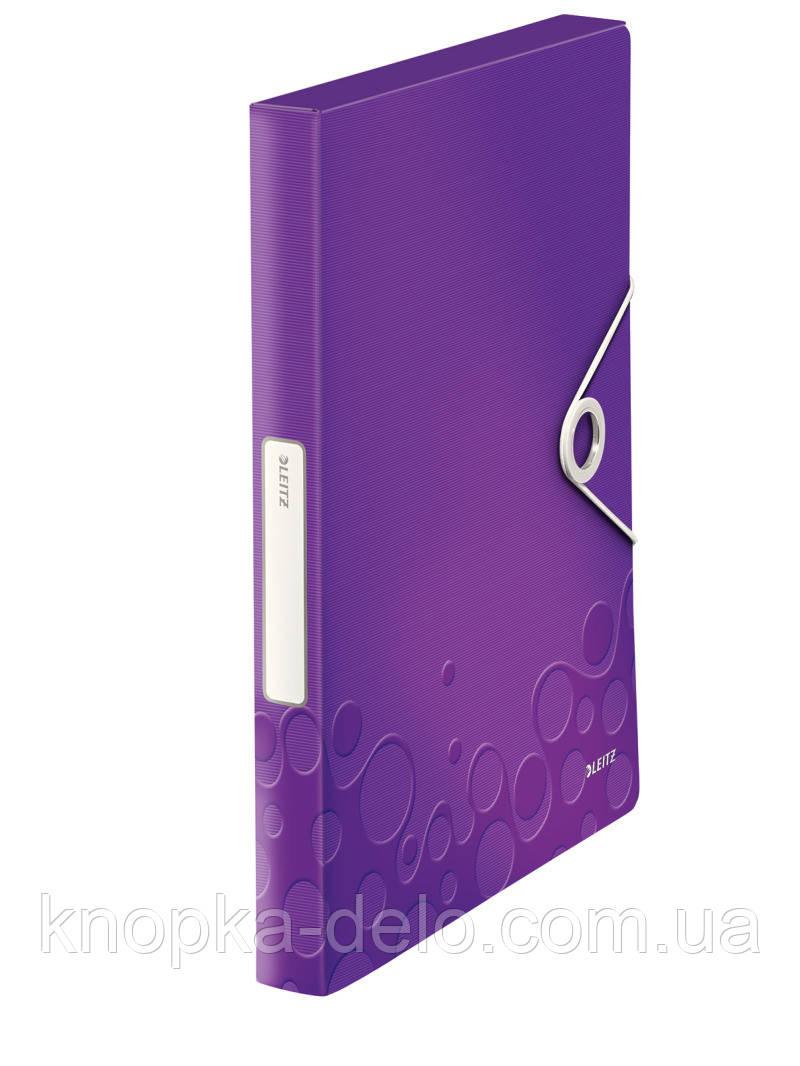 Папка-бокс на резинке Leitz WOW, A4 PP на 250лист., фиолетовый металлик, арт. 46290062