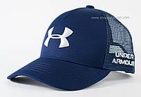 Трендовая бейсболка с сеткой синяя Under Armour белая вышивка