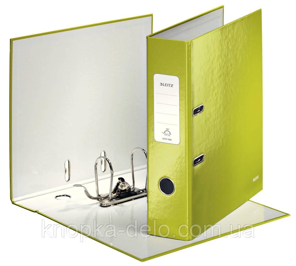 Папка-регистратор Leitz WOW с механизмом 180°, А4 80 мм, зеленый металлик, арт. 10050064