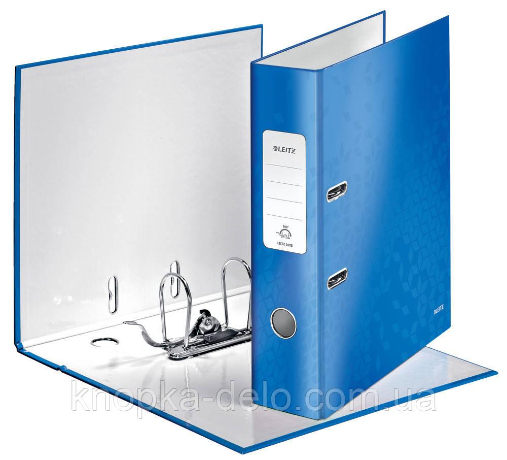 Папка-регистратор Leitz WOW с механизмом 180°, А4 80 мм, синий металлик, арт. 10050036