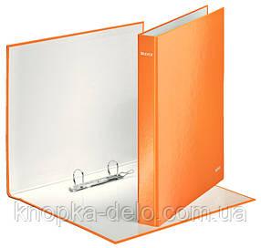 Папка-регистратор Leitz WOW, 2 кольца, 25мм, А4+, оранжевый металлик, арт.42410044