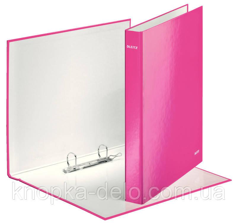 Папка-регистратор Leitz WOW, 2 кольца, 25мм, А4+, розовый металлик, арт.42410023