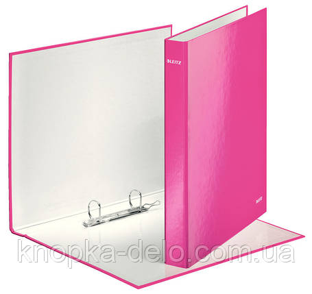 Папка-регистратор Leitz WOW, 2 кольца, 25мм, А4+, розовый металлик, арт.42410023, фото 2
