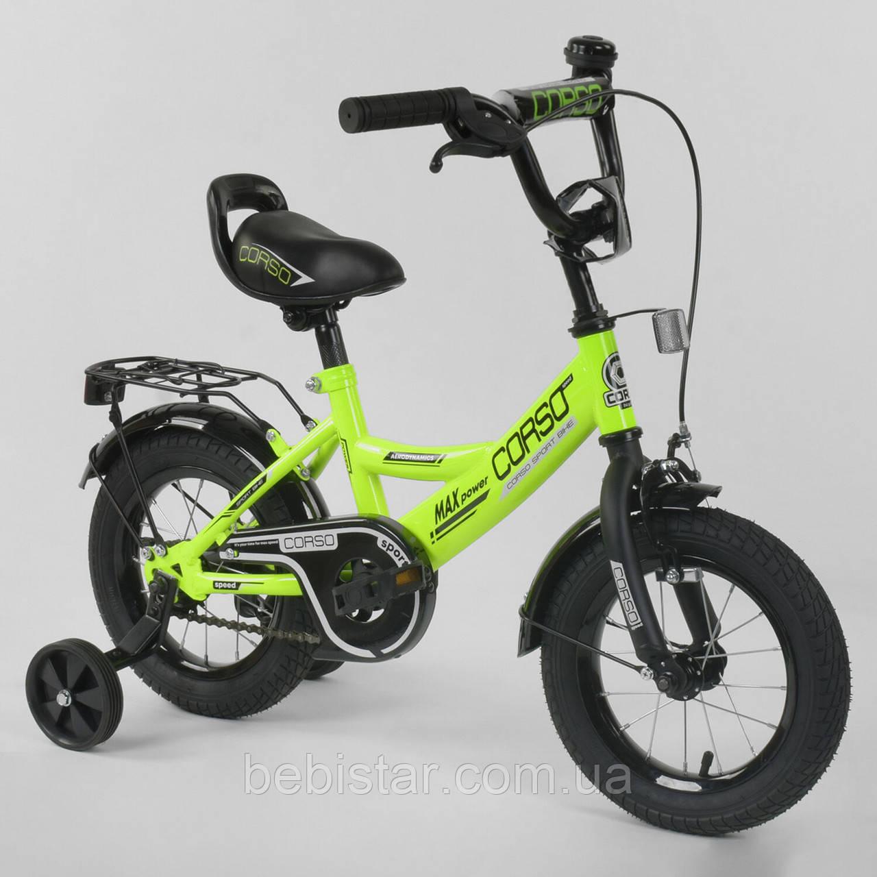 """Двухколесный детский велосипед салатовый Corso 12"""" звоночек багажник с зажимом деткам 3-4 года"""