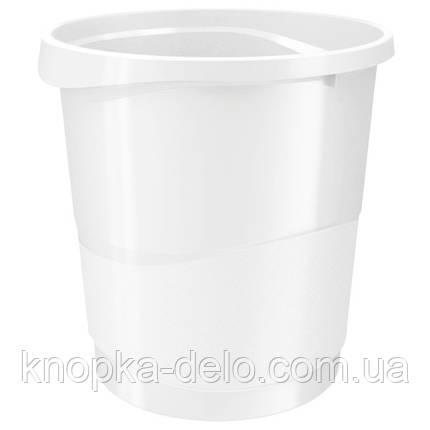 Корзина для бумаги Esselte Vivida 14 л пластиковая, белая, фото 2
