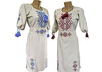 Женское льняное платье вышитое крестиком Family look р.42 - 60