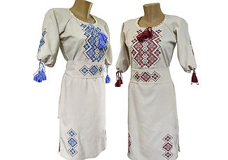 Жіноче лляне плаття вишите хрестиком Family look р. 42 - 60