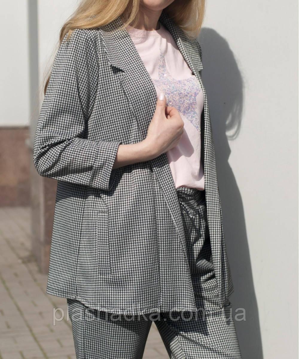 Пиджак женский в клетку удлиненный. серый (Турция)