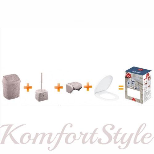 Набір (йорж, відро ,тримач для паперу, кришка для унітазу) АЖУР кольору а асортименті