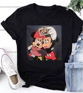 Стильная женская свободная футболка с нашивкой Микки и Мини Маус 42-50 р