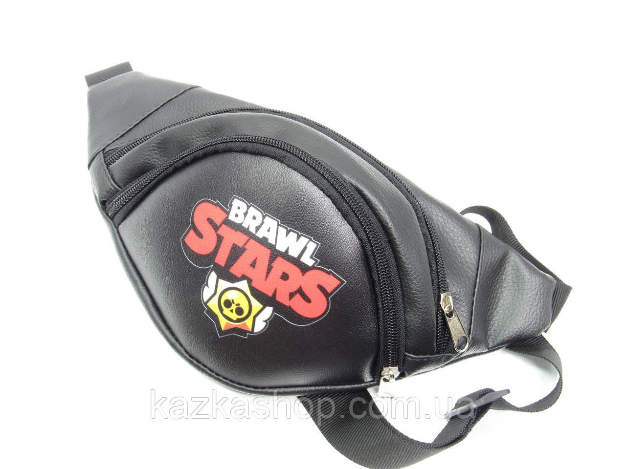 Стильная бананка Brawl Stars, Бравл Старс, барыжка, сумка на пояс, с накатом, искусственная кожа