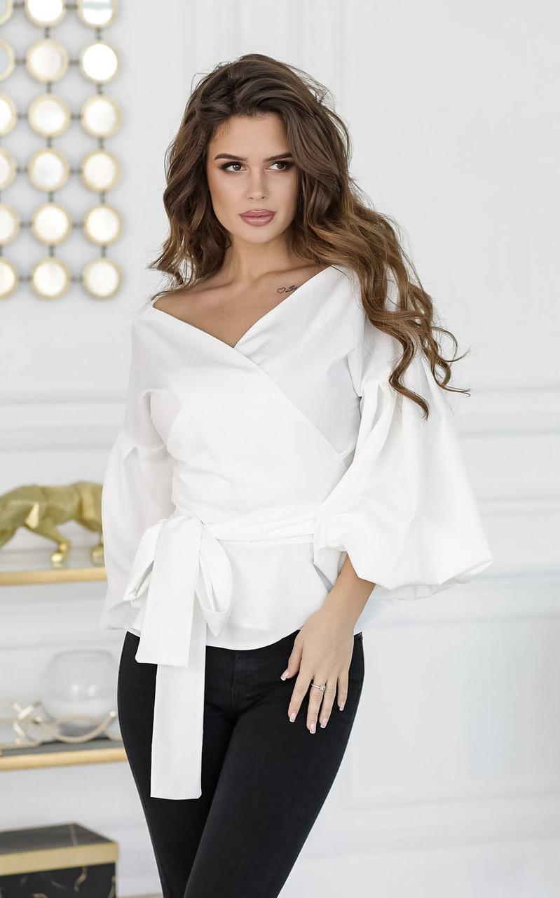 Блузка на запах, белая