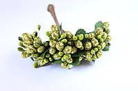 Декоративные веточки с тычинками 10-12 шт/уп. в глитерной обсыпке зеленого цвета, фото 1