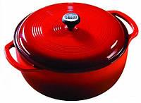Посуда для тушения с крышкой эмалированный чугун красного цвета объем 5,5л Lodge диаметр 280 х120
