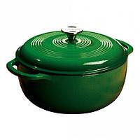 Посуда для тушения с крышкой эмалированный чугун зеленого цвета объем 5,5л Lodge диаметр 280 х120