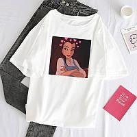 Стильная женская футболка белая с принтом