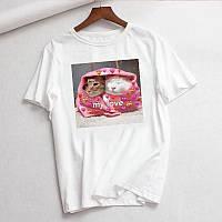 Стильная женская футболка белая с котиками Love