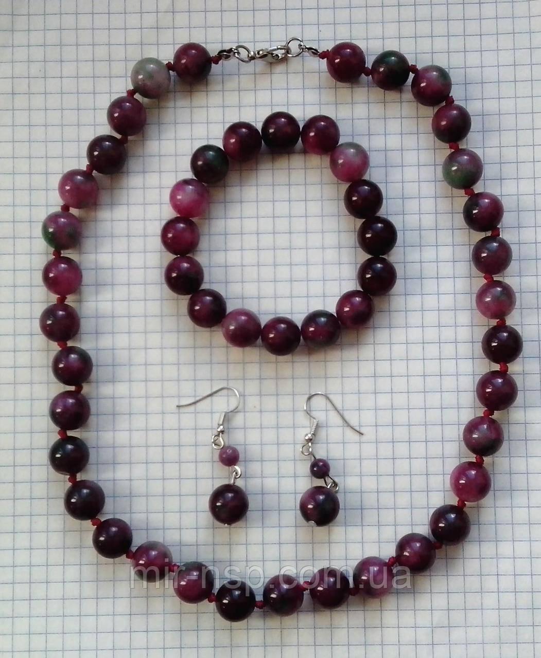 Набор бусы браслет серьги турмалин (синт) 12 мм