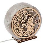 Соляной светильник круглый Ангел+луна, фото 5