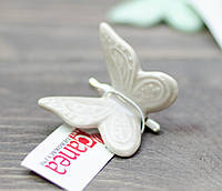 Метелик керамічна маленька на прищіпці - кавова