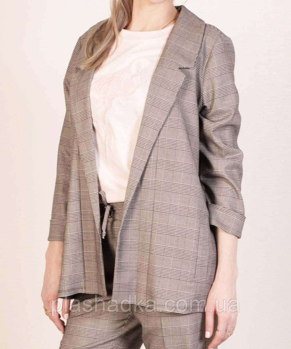 Удлиненный пиджак женский в клетку. серый 44,46,48,50 р. (Турция)