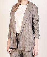 Удлиненный пиджак женский в клетку. серый 44,46,48,50 р. (Турция), фото 1