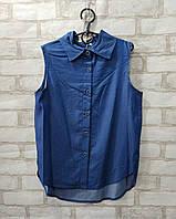 Рубашка подростковая однотонная для девочки9-12 лет, синего цвета