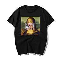 Стильная женская футболка черная с принтом Мона Лиза Mona Lisa