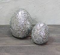 Яйцо ажурное керамическое серебристое-золотое