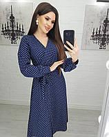 Платье женское в горошек с поясом размеры  S, M, L.