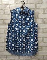 Рубашка подростковая в цветочек для девочки9-12 лет, синего цвета