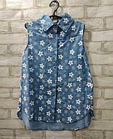 Рубашка подростковая в цветочек для девочки9-12 лет, голубого цвета