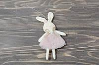 Текстильний кролик у сукні - рожевий, фото 1